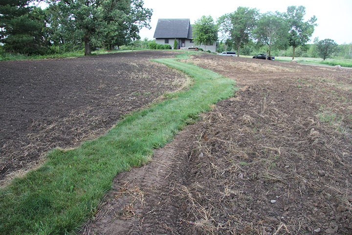 There was a time when I mowed all of this as turf grass. After a few years, and having gone through one old tractor and mowing deck, I decided enough was enough.We seeded this in a pollinator mix on Friday, though it took a while to prepare these sites. I left a path of turf grass winding through the middle of it.