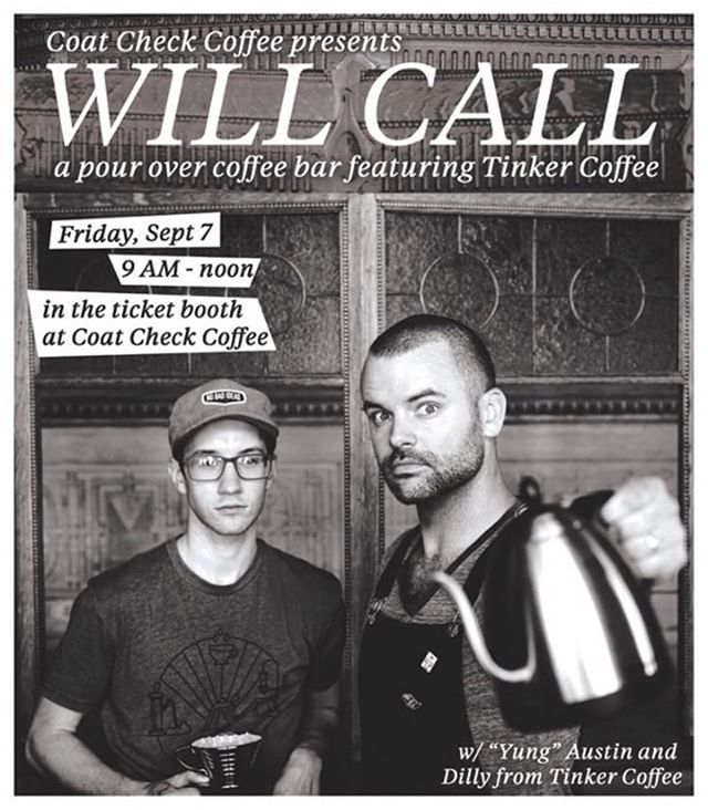 Grab your bitcoins and cancel your Friday plans 😎☕️ you're coming with me to see @tinkercoffee present pristine pour overs from 9-12 in ye old ticket booth at @coatcheckcoffee  The ticket booth is over 100 years old but these boys are fresh AF