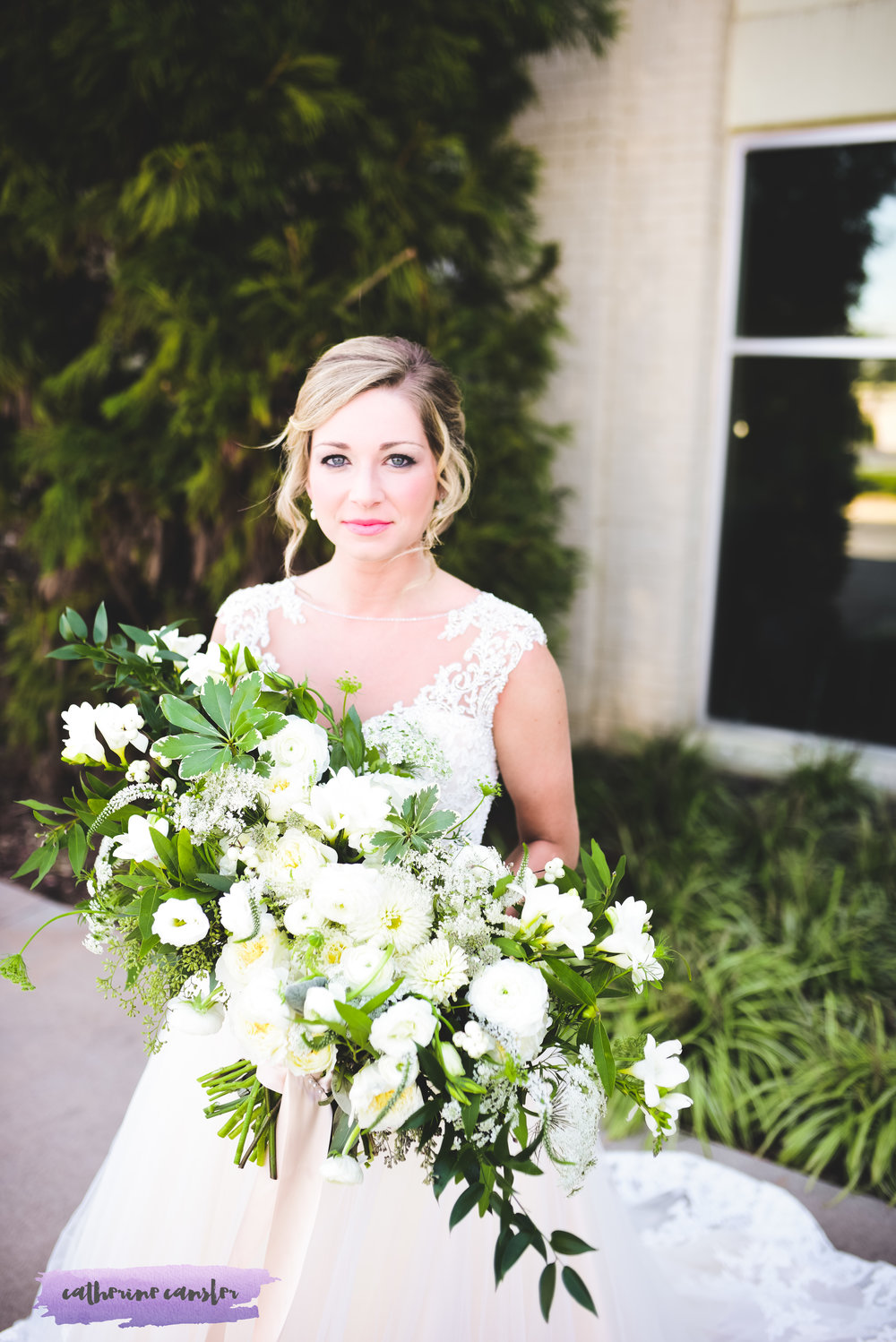 Dramatic White Bridal Bouquet | Flowers By Flower Buds. Picture by Catherine Cansler Photography