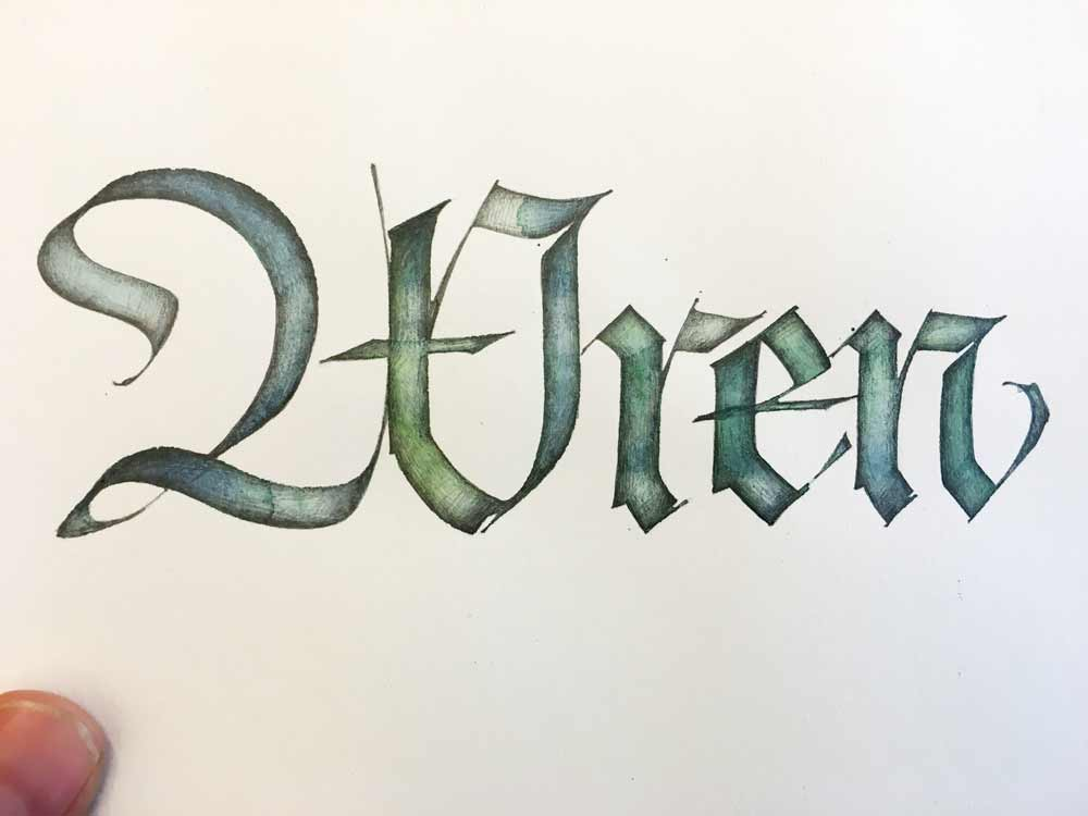 As the class watched, Amity whipped out this demonstration of letters penned with a nib dipped in tinted water and later enhanced with graphite.