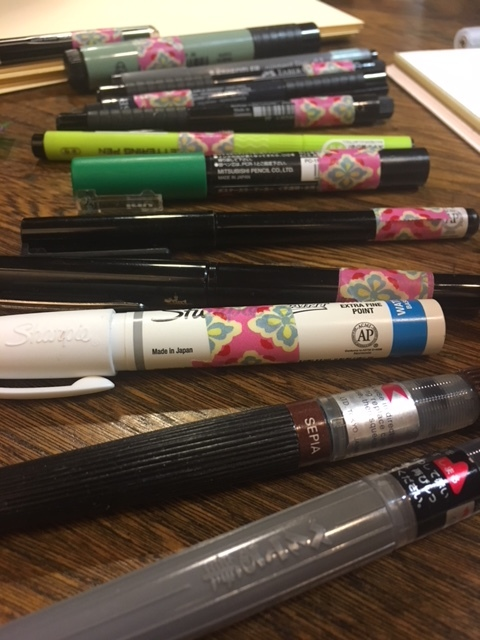 Some of Roz's pens. She generously let us try them out!