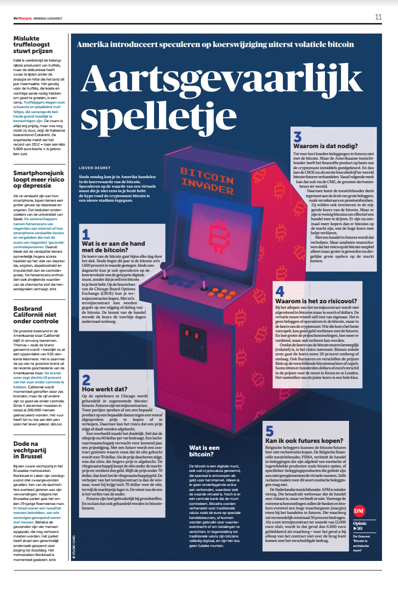 Illustration for an article about the dangers of playing with Bitcoin in the paper De Morgen