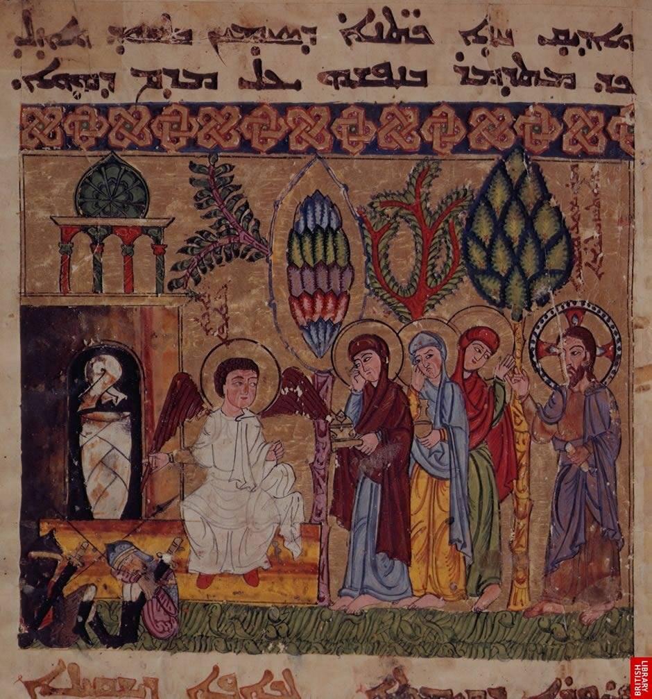 الموصل في عيد الفصح 1216 م Holy women at the tomb, From Syriac Lectionary, Mosul 1216.