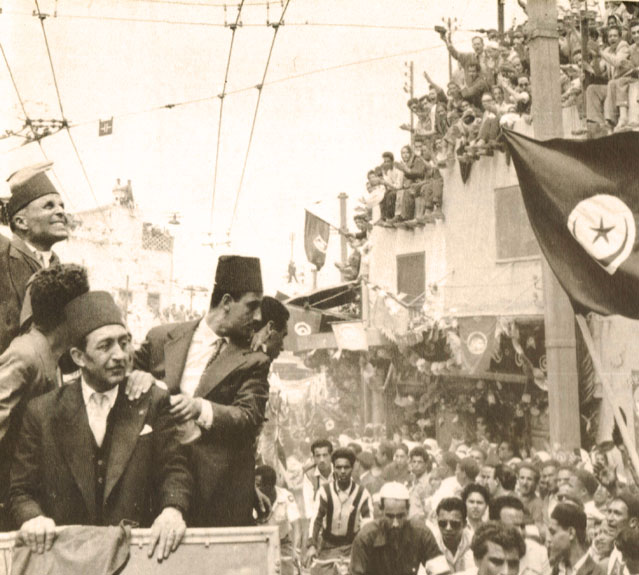 Bourguiba in Tunis, 1955, post-independence. Courtesy of Wikicommons.