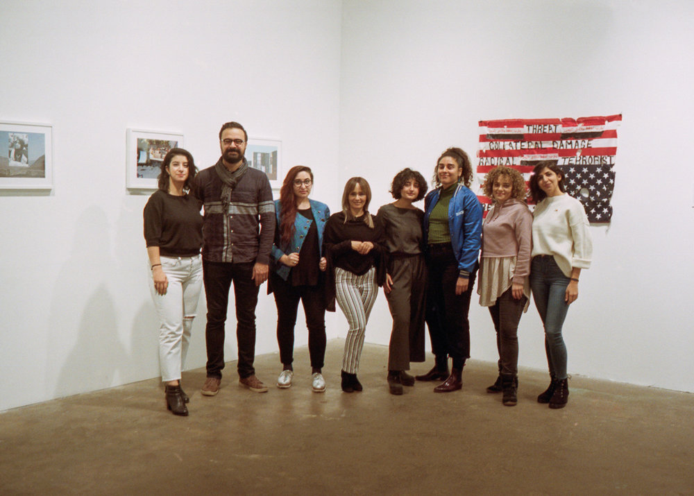 From left to right: Kiana Pirouz, Farhad B  arham  , Soraya Majd, Asiya Al-Sharabi, Tandis Shoushtary, Carmen Daneshmandi, Gina Malek, and Mahya Soltani. Photo by Jack Newton.