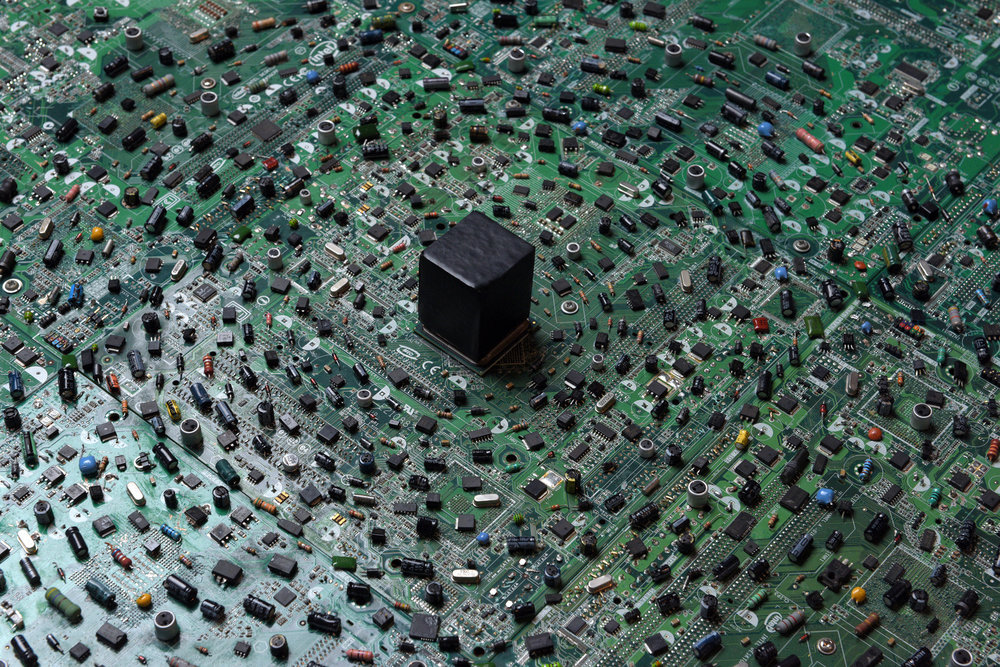 Digital Spirituality , 2016 Circuit board mixed media installation and 3D print (73.4 × 73.4 × 8 cm)
