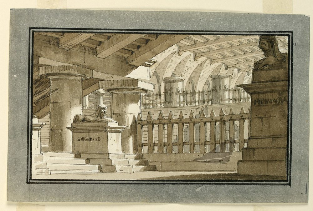 Drawing, Stage Design, Egyptian Prison, early 19th century. Wikicommons.