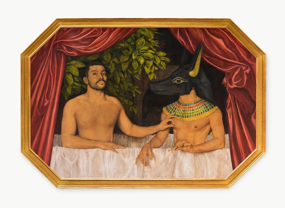Alireza Shojaian,  Hamed Sinno et un de ses Frères,  acrylic and colour pencil on wood board, 150 x 220 cm, 2018. Courtesy of artist.