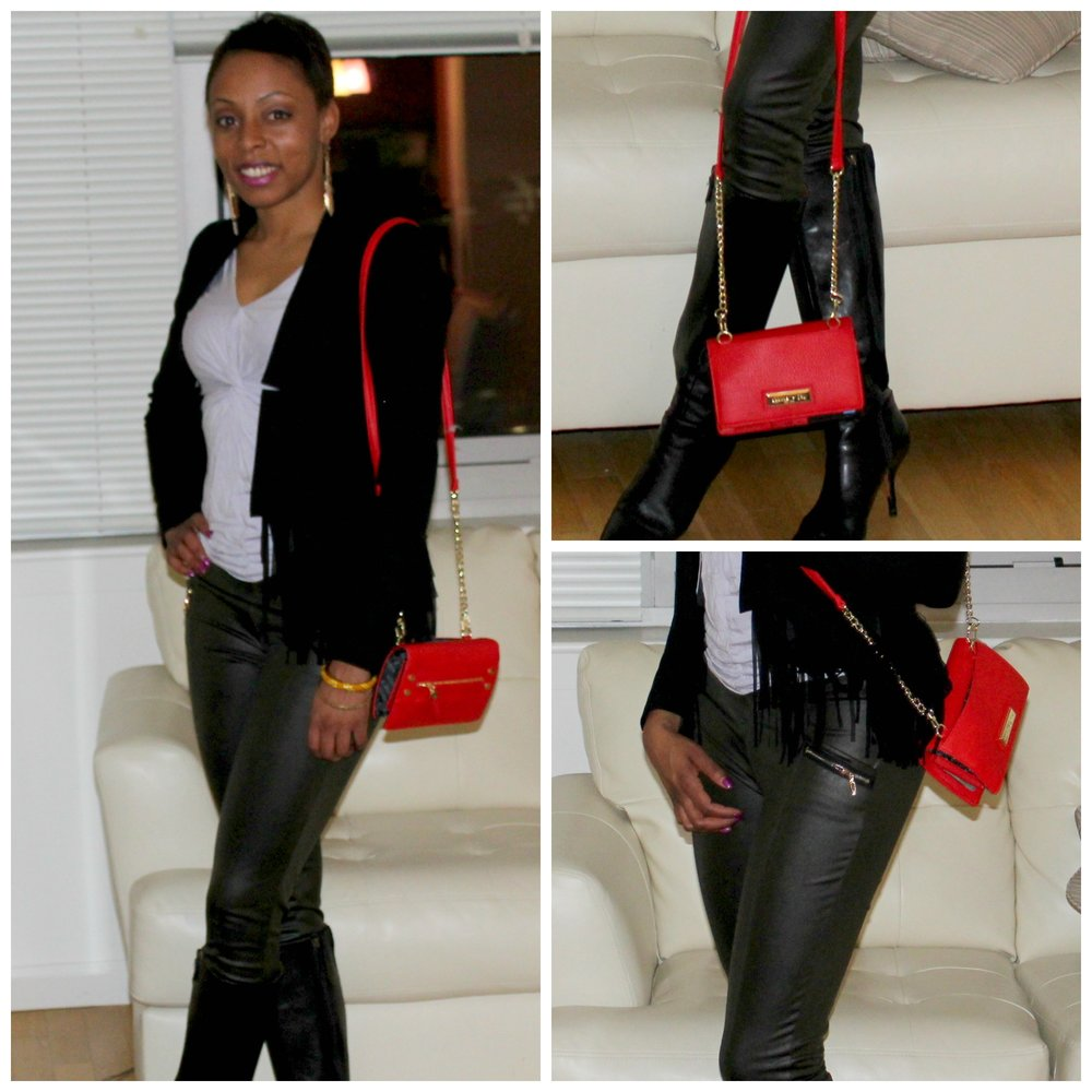 neutral outfit pop of red collage
