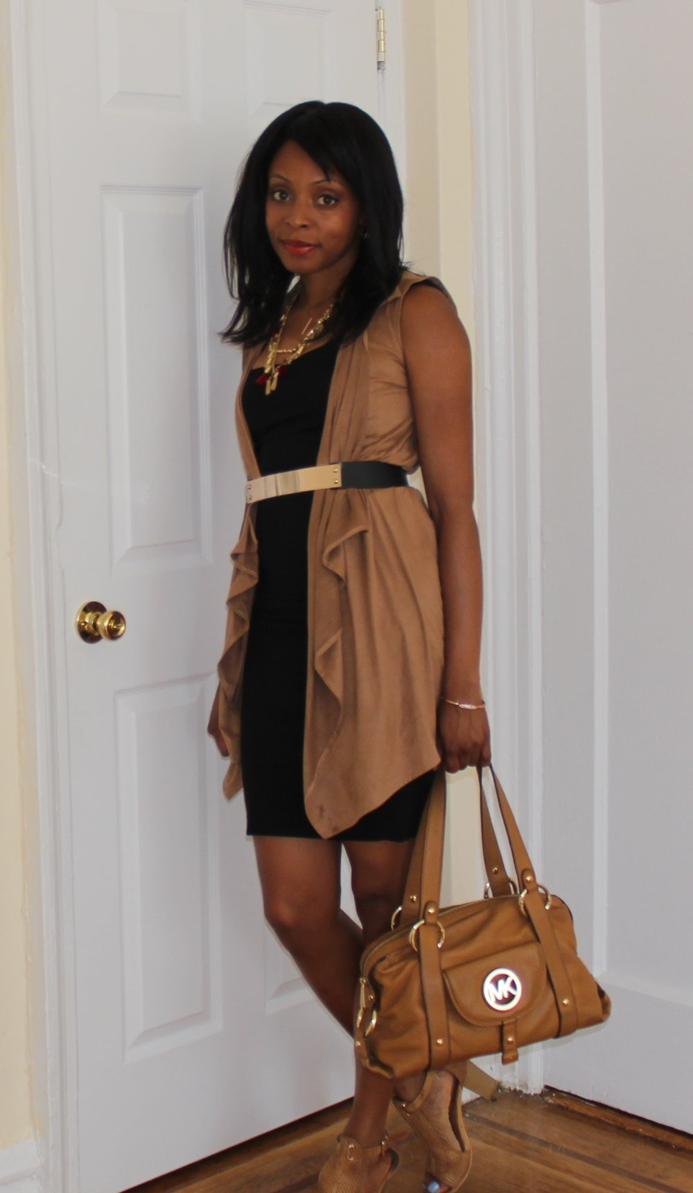 dress and vest outfit