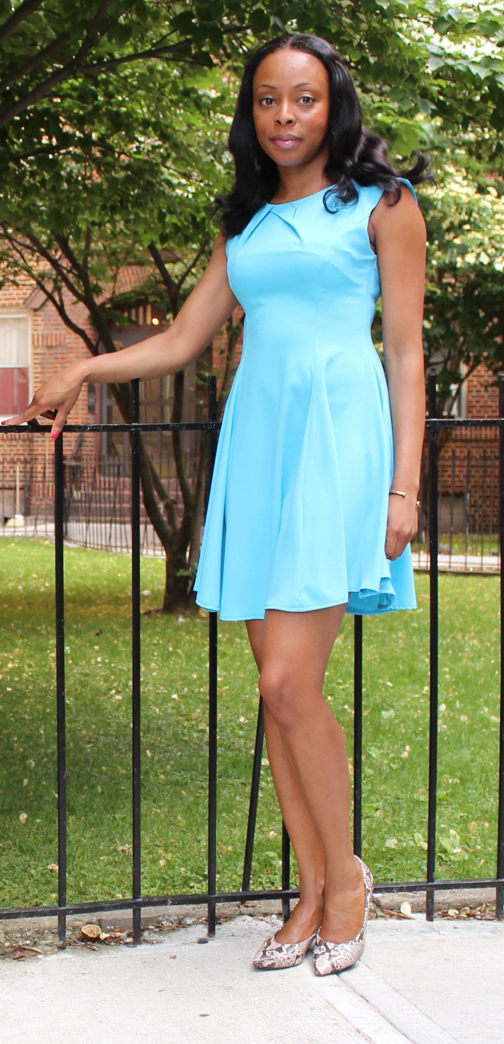 blue a line dress