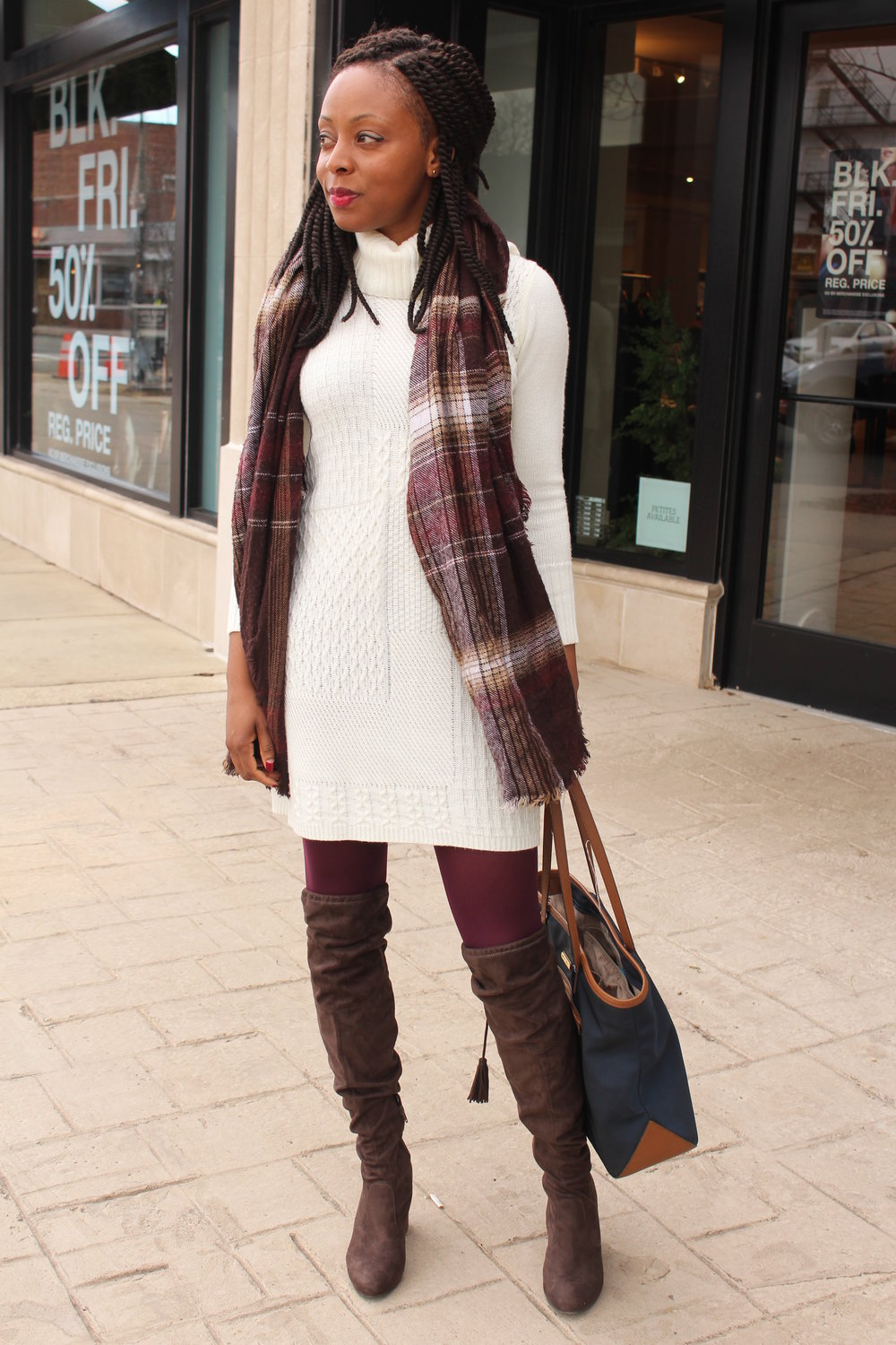 sweater dress and over-the-knee boots