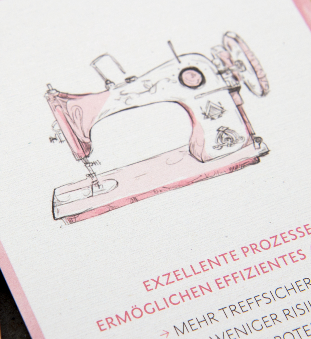 Illustration einer Nähmaschine / illustration of a sewing machine / mit Versalien Typografie / with Capital letters für den Pocket Guide von Street One von den sons of ipanema einem Grafikbüro aus Köln.