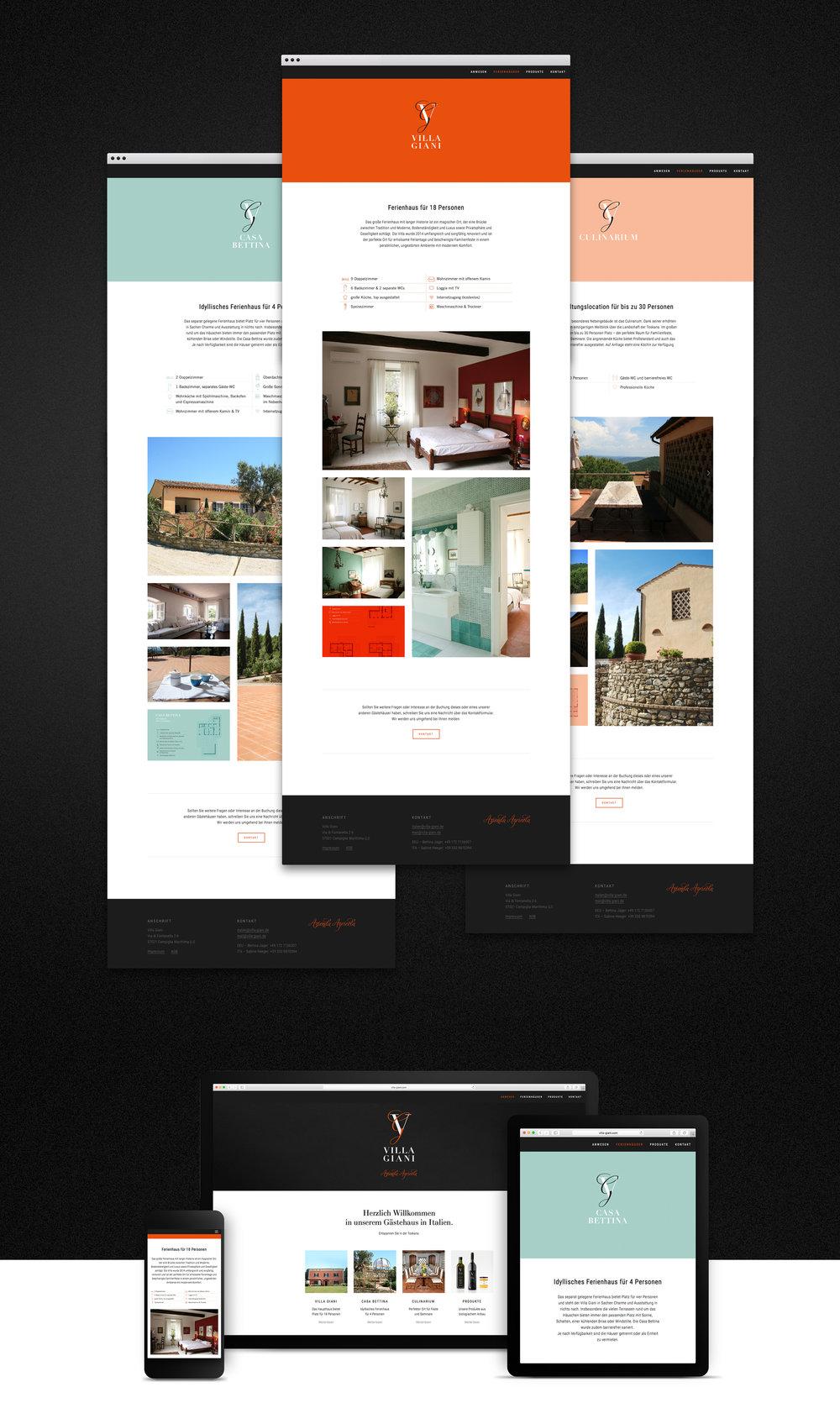 Web Design von den sons of ipanema für Villa Giani, eine Villa in der Toskana