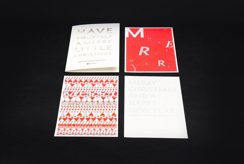 Merry Chrsitmas and a happy new year. Typografie Stanzung, Muster für Weihnachten, Karten Set für Street One, gestaltet von den sons of ipanema, Grafikbüro aus Köln.