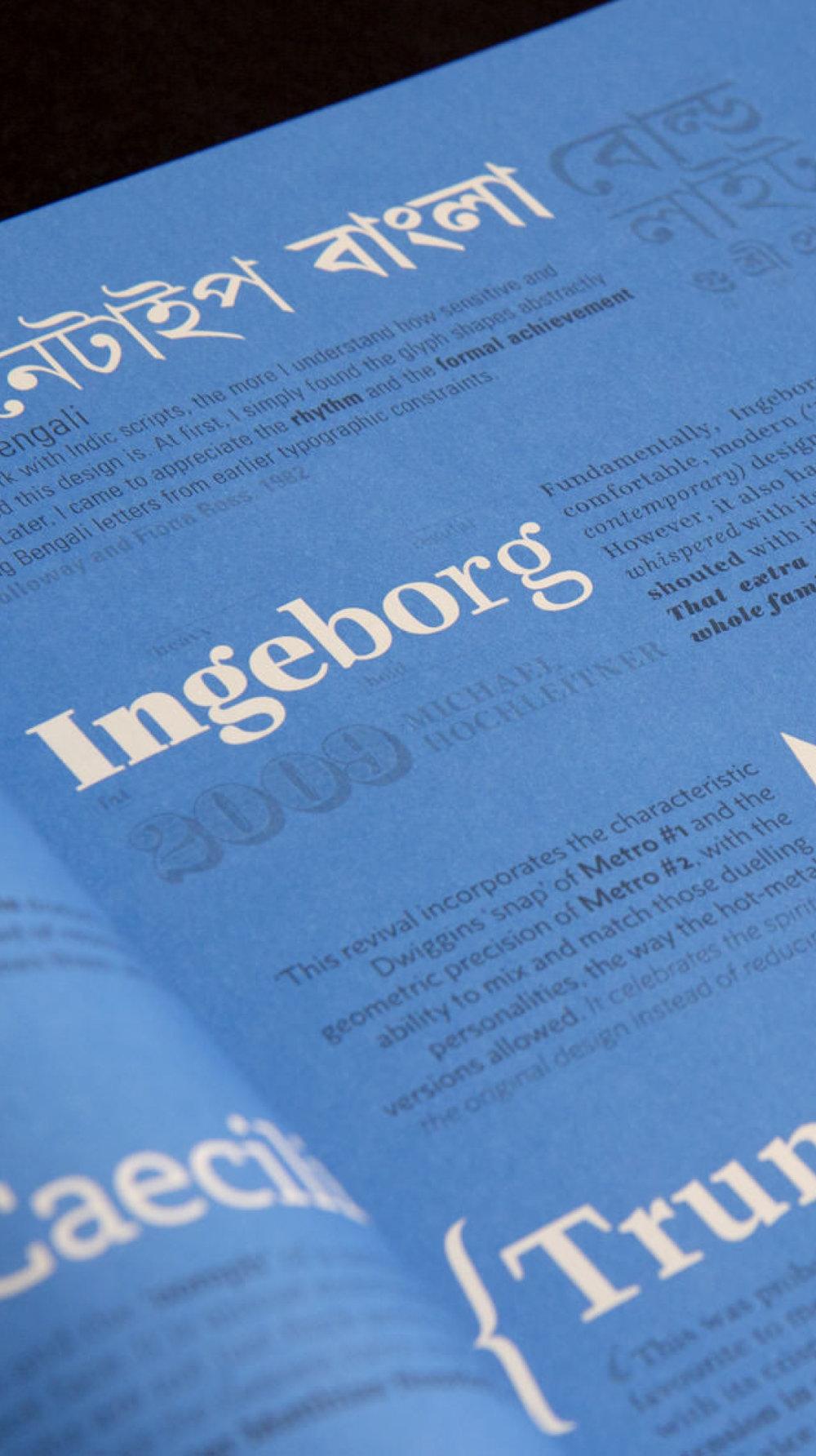 Gestaltung Typo Magazin 8 Faces von den sons auf ipanema einem Grafikbüro aus Köln. Typografie Ingeborg.