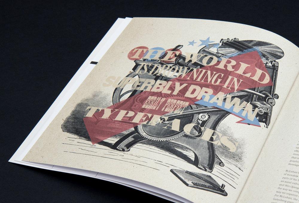 Illustrierte Seite mit verschiedenen Schriften aus dem Magazin 8 Faces gestaltet von den sons of ipanema , einer Grafik Agentur aus Köln.