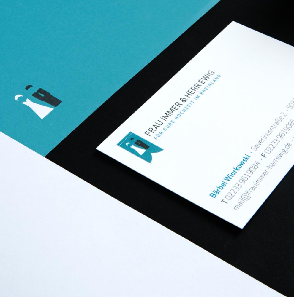 Geschäftsausstattung (Briefpapier, Visitenkarten, Notizblock) für Frau Immer und Herr Ewig von den sons of ipanema einem Büro für Kommunikation in Köln.