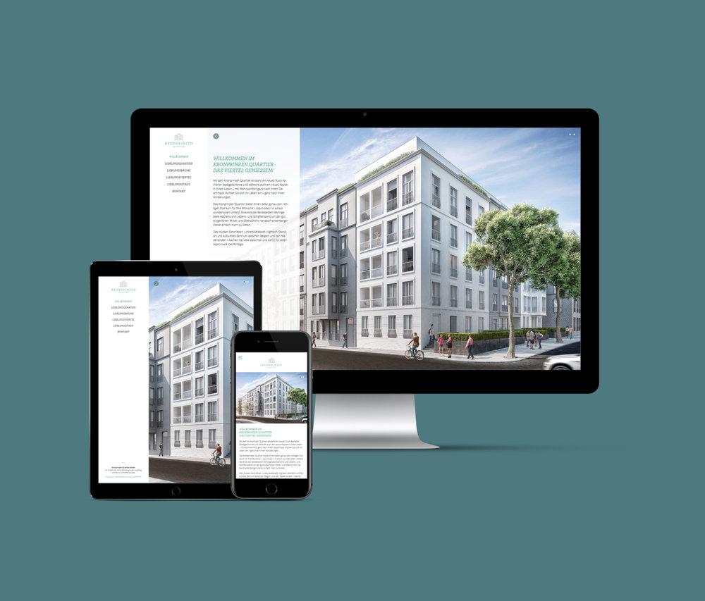 Webseiten Gestaltung/ Web Design für online und mobil für das Kronprinzen Quartier (Projekt von der GS Immobiliengruppe). Gestaltung von den sons of ipanema, einem kölner Designbüro.