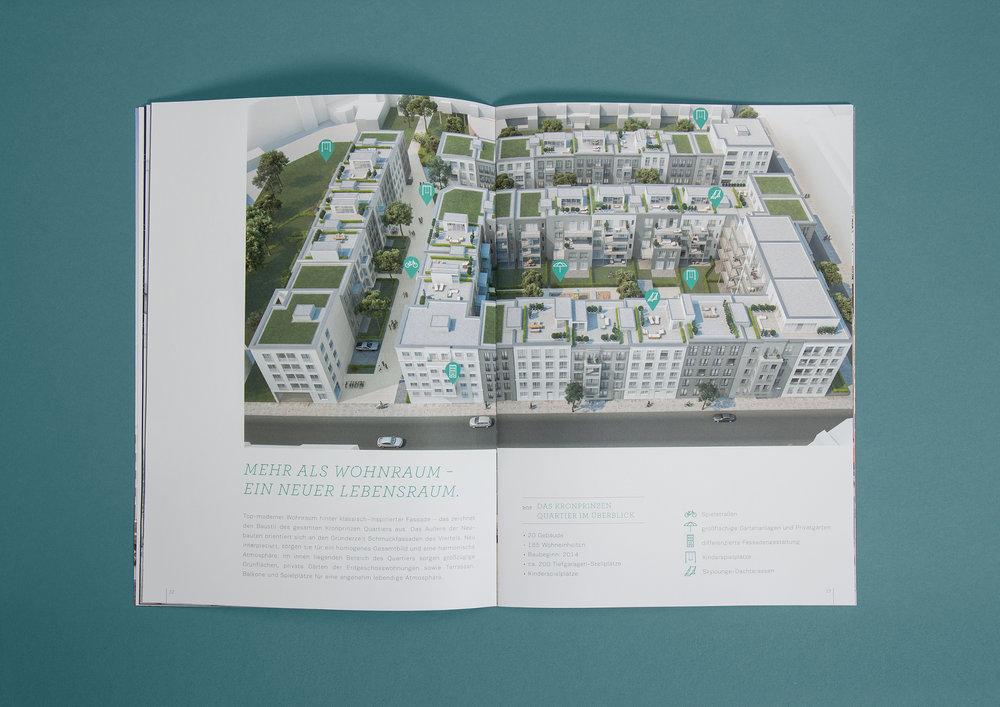 """Vogelperspektiven Ansicht auf das Kronprinzen Quartier von der GS Immobiliengruppe in Aachen. Der Text unter dem Bild gibt zum Thema """"Mehr als Wohnraum - ein neuer Lebensraum"""" einen Überblick über die neue Immobilie. Gestaltet von den sons of ipanema einem Büro für Grafik Design aus Köln."""