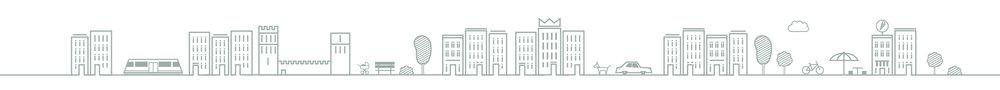 Icongestaltung für das Kronprinzen Quartier von GS Immobilien in Aachen. Das Studio für Kommunikationsdesign sons of ipanema gestaltete diese horizontale Ansicht einer Straße in einem Wohnviertel, welche Icons von Häusern, einer Straßenbahn/ Tram, Burg, einem Kinderwagen, einer Bank, Büschen und Bäumen, einem Hund, einem Auto, Wolken, Fahrrad, Sonnenschim, Sitzecke, Hocker und Tisch und Eisdiele.