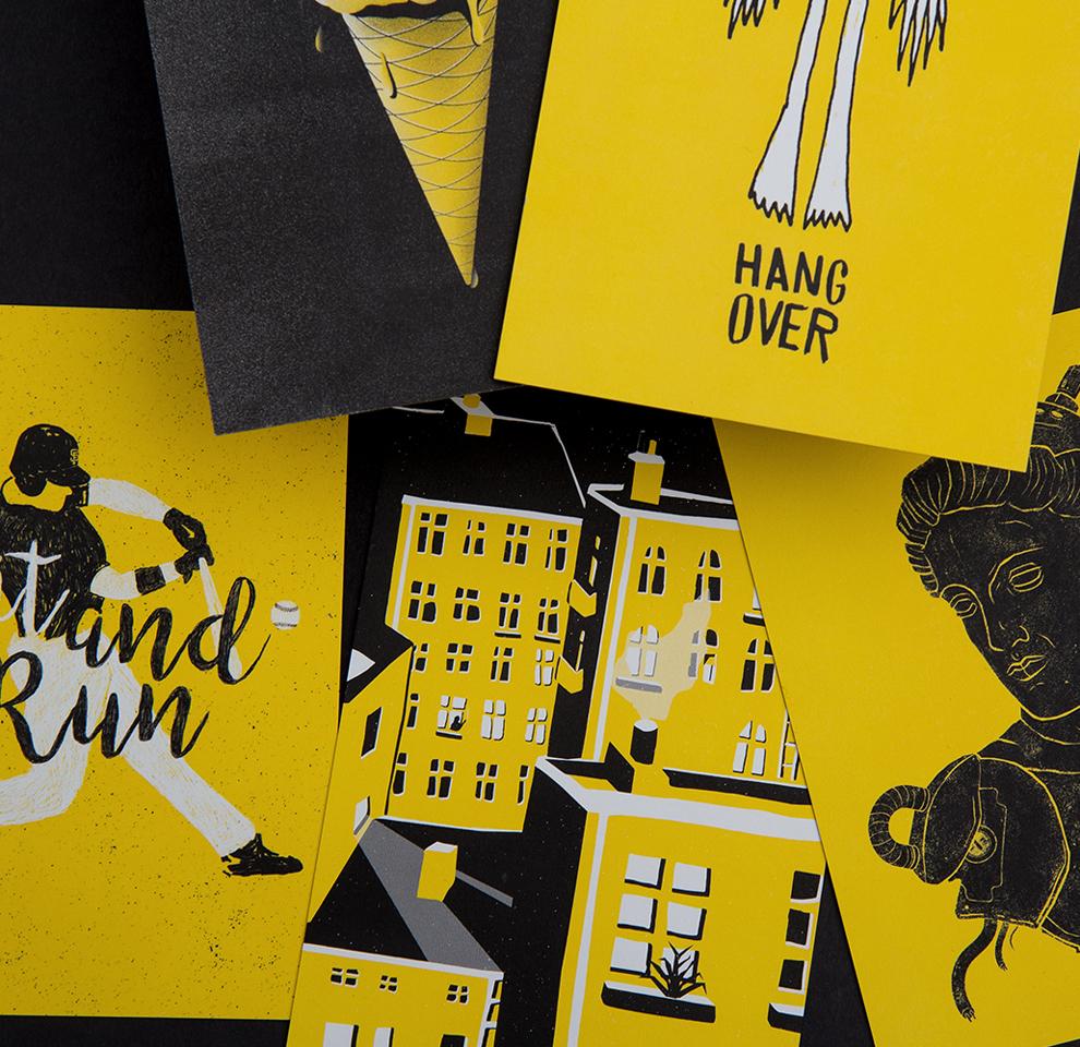 Illustrationsset Hangover (Arme und Beine), Hinterhof, Büste, Roboter, Eis, Waffel, Rakete, Start, Hit and Run, Baseball. Diese dreifarbigen Illustrationen entstanden für 50/50 eine von den sons of ipanema aus Köln in Leben gerufene Spendenaktion.