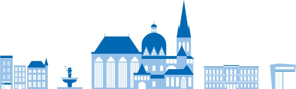 Illustration von den RWTH Aachen Gebäuden und verschiedenen Fakultäten von der Grafik Agentur sons of ipanema ind Köln.