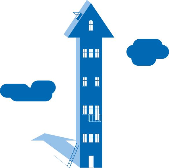 Haus mit Fenstern und einer Dachluke, drumherum Wolken illustriert von den sons if ipanema für die RWTH Aachen.