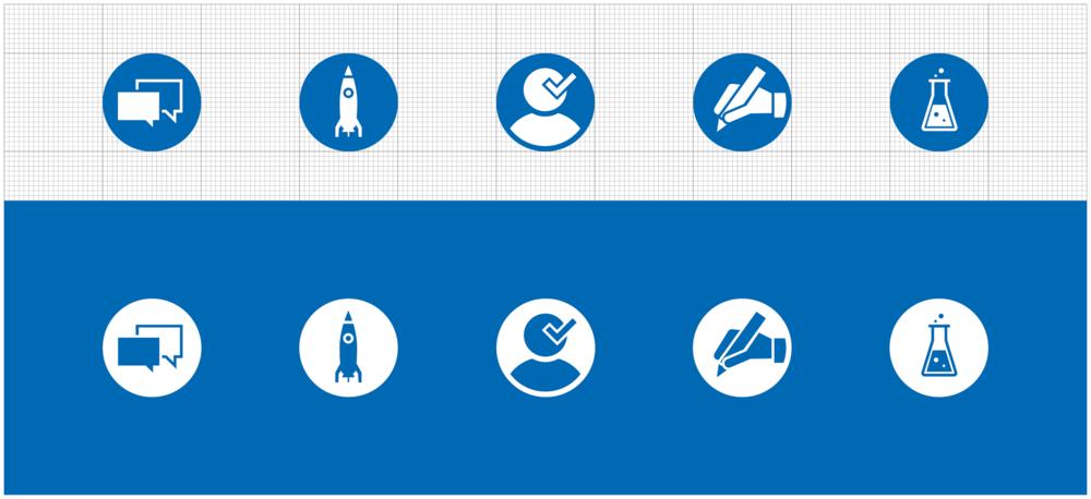 Icongestaltung/ Vektor Grafik von den sons of ipanema für die RWTH Aachen. Auf dem Bild sieht man Icons von sich überlappenden Sprechblasen, einer Rakete, ein Mensch mit Haken, eine schreibende Hand mit Stift und ein Reagenzglas mit aufsteigenden Blasen.