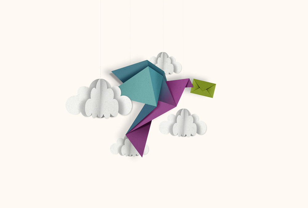 Origami Illustration eines Vogels von den sons of ipanema für die NORD/LB Luxemburg
