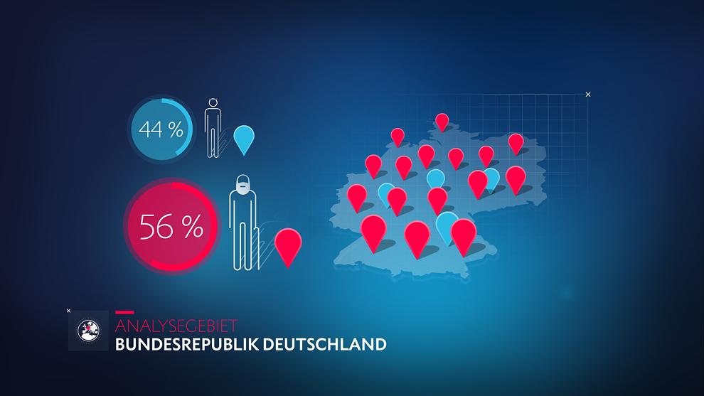 Motiondesign, Infografik und Illustration: Analysegebiet Deutschlandkarte / Frauen und Männer. Infografik von den von den sons of ipanema.