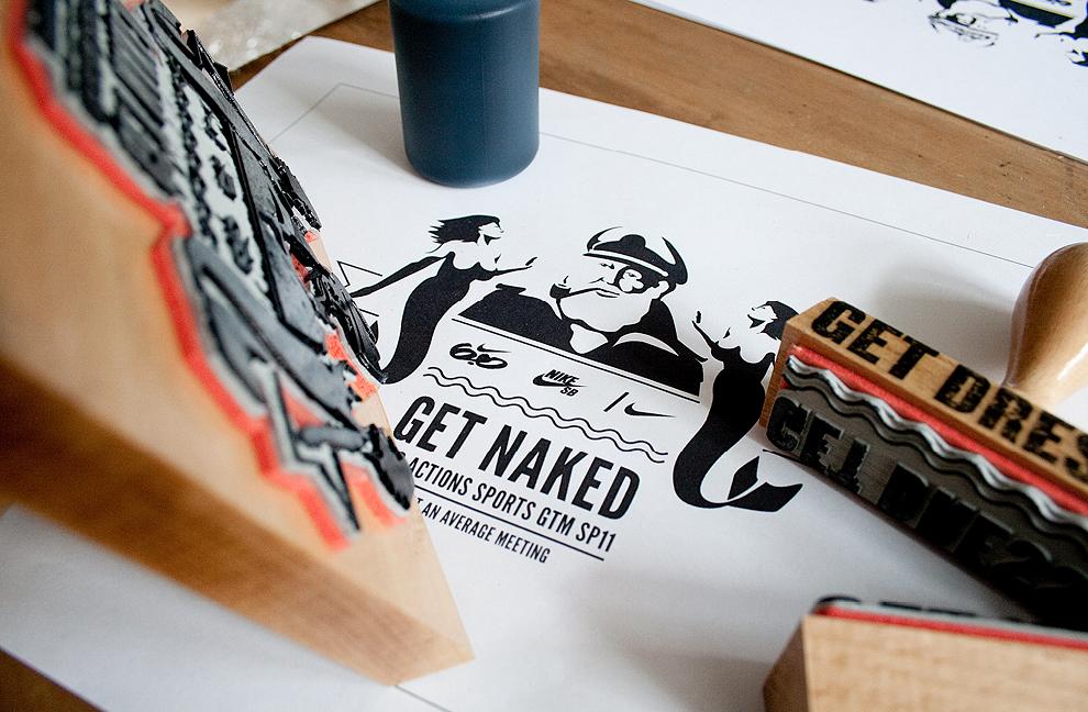 Für Nike SB gestalten die sons of ipanema aus Köln eine Einladung in Form einer kleinen Schatztruhe. Bestempelt und limitiert.