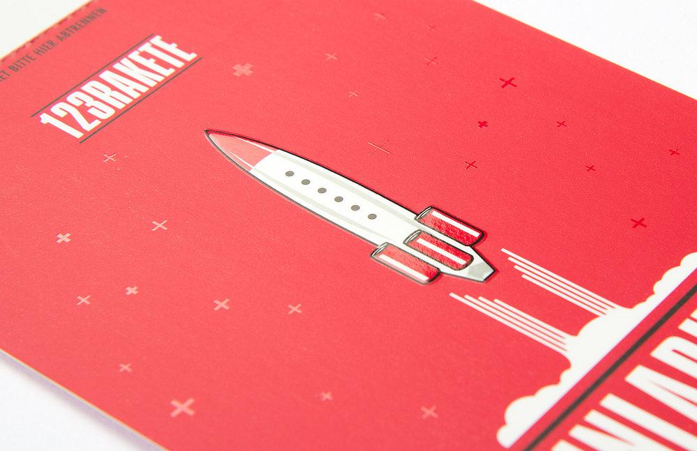 Corporate und Veranstaltungsdesign für123 Rakete, eine Releaseparty für Red Bull, gestaltet von den sons of ipanema