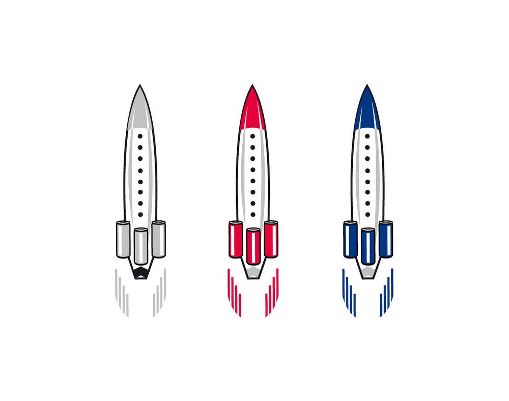 Illustration für eine graue, rote und blaue Rakete auf weißem Hintergrund für die 123Tischrakte. Mit Perforierung um aus der Rakete eine kleinen Raktenaufsteller zu bauen. Für die Veranstaltungsreihe von 123 Rakte für Red Bull von den sons of panema in Köln gestaltet.