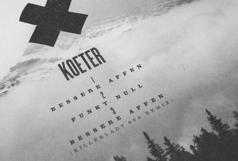 Cover Artwork für die Bands Love A und Koeter aus Trier und Köln. Natürlich aus der Feder des Designstudios sons of ipanema.