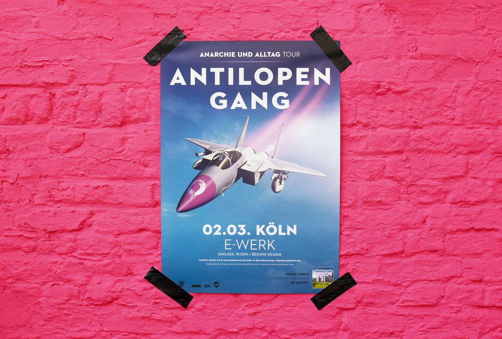 Tour Plakat für das Konzert der Antilopen Gang in Köln, von den sons of ipanema.