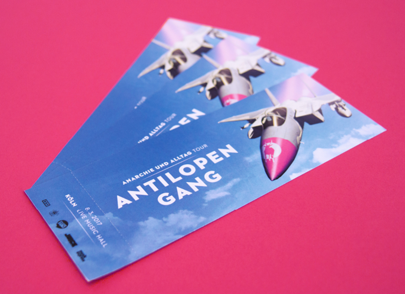 Konzert-Ticket der Antilopen Gang gestaltet von den sons of ipanema einer Grafik Agentur in Köln.
