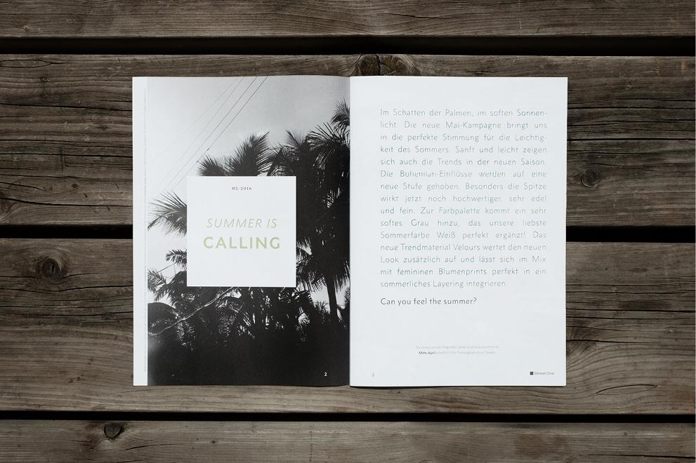 """Doppelseite aus dem Street One Magazin. Intro Seite """"Summer is Calling"""" konzipiert und grafisch erarbeitet von den sons of ipanema einer Grafik Agentur aus Köln."""