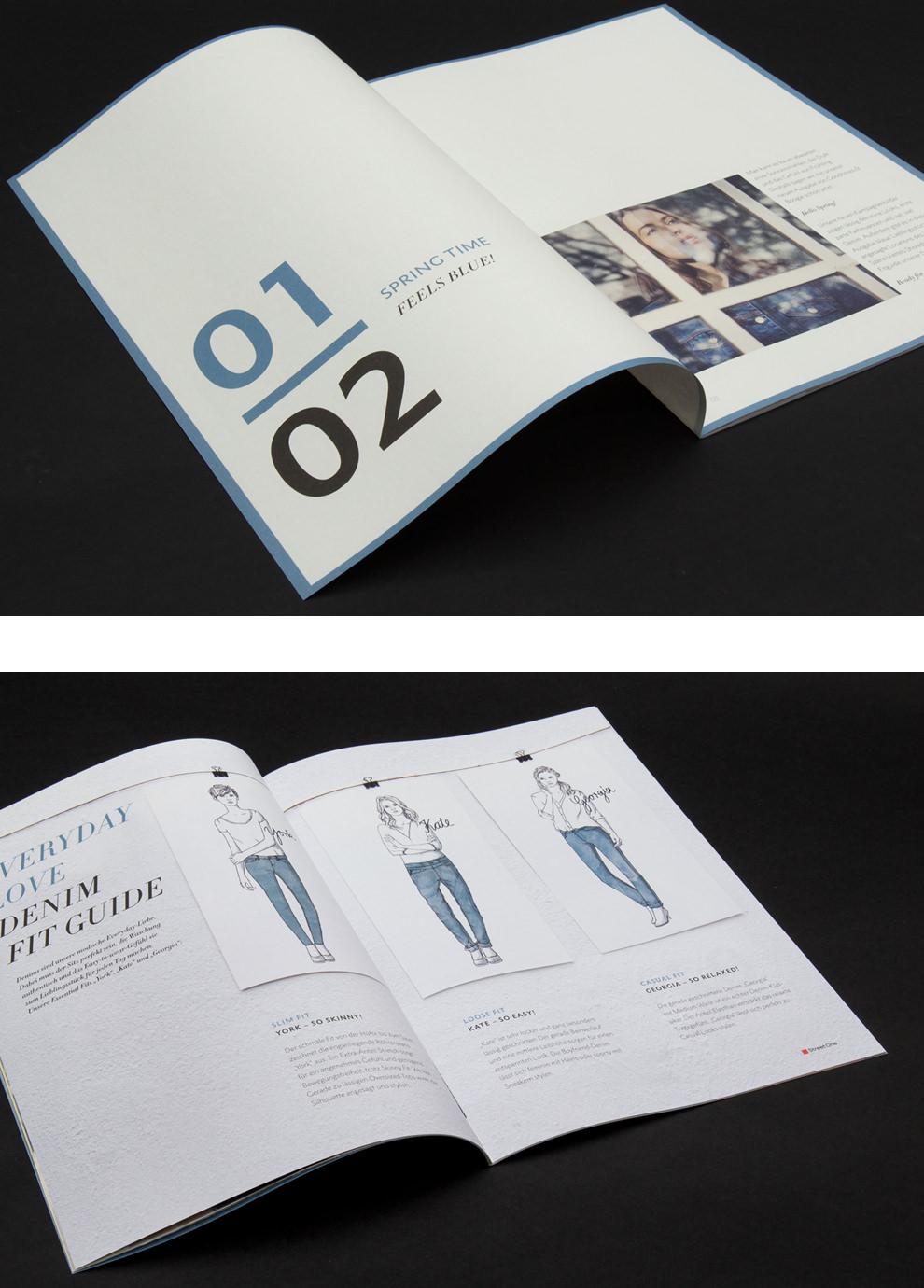 """Street One Doppelseiten-Intro """"Spring Time - Feels Blue""""von den sons of ipanema, Grafikdesign aus Köln. Blauer Farbrahmen und große Typo. Jeans Illustration und Denim Fit Guide, Slim Fit, Loose Fit und Casual Fit."""