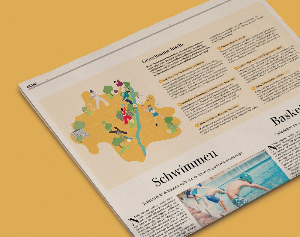 Illustration Münchenkarte und Sportarten in der Beilage der Süddeutsche Zeitung. Auftrag für die Deutsche Journalistenschule in Kooperation mit dem Deutschen Olympischen Sportbund. Grafik von den sons of ipanema.