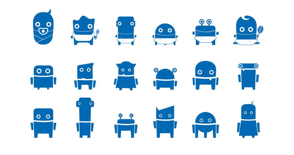 Mini-Roboter Illustrationen von den sons of ipanema, einer Design Agentur aus Köln für die RWTH Aachen