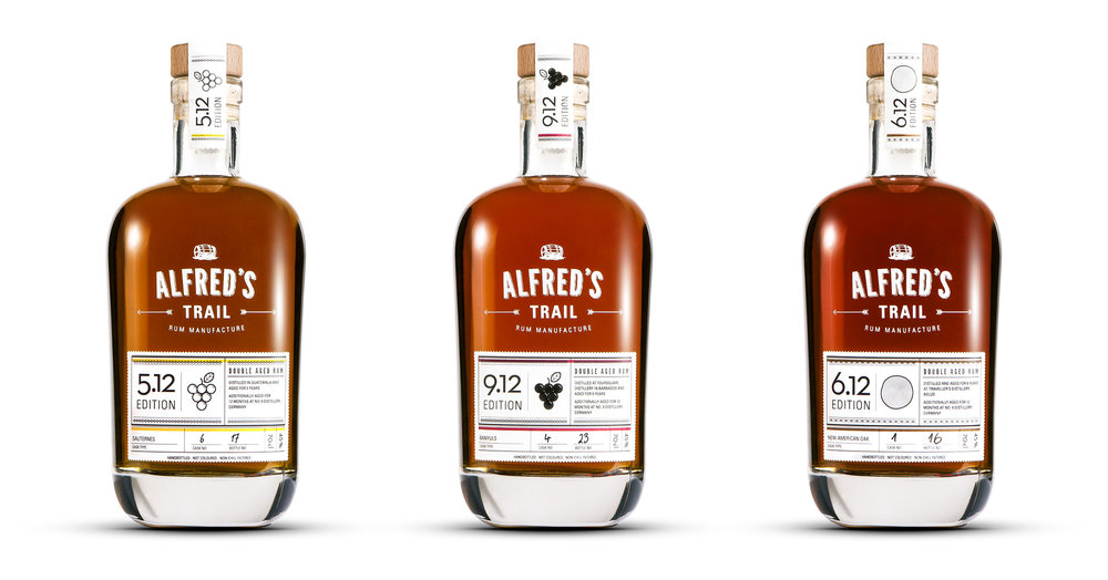 Number Nine Spirituosenmanufaktur / Edition 5.12 Double Aged Rum, Sauternes / Edition 9.12 Double Aged Rum, Banyuls / Edition 6.12 Double Aged Rum, New American Oak von Alfred´s Trail Rum Manufacture. Gestaltung von den sons of ipanema, einem Büro für Kommunikatiosdesign aus Köln.