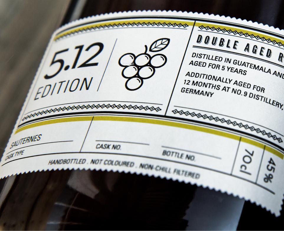 Etikett von dem Double Aged Rum, Edition 5.12 für Alfred´s Trail Rum Manufacture / Number Nine Spirituosenmanufaktur von den sons of ipanema einem Grafikbüro aus Köln.