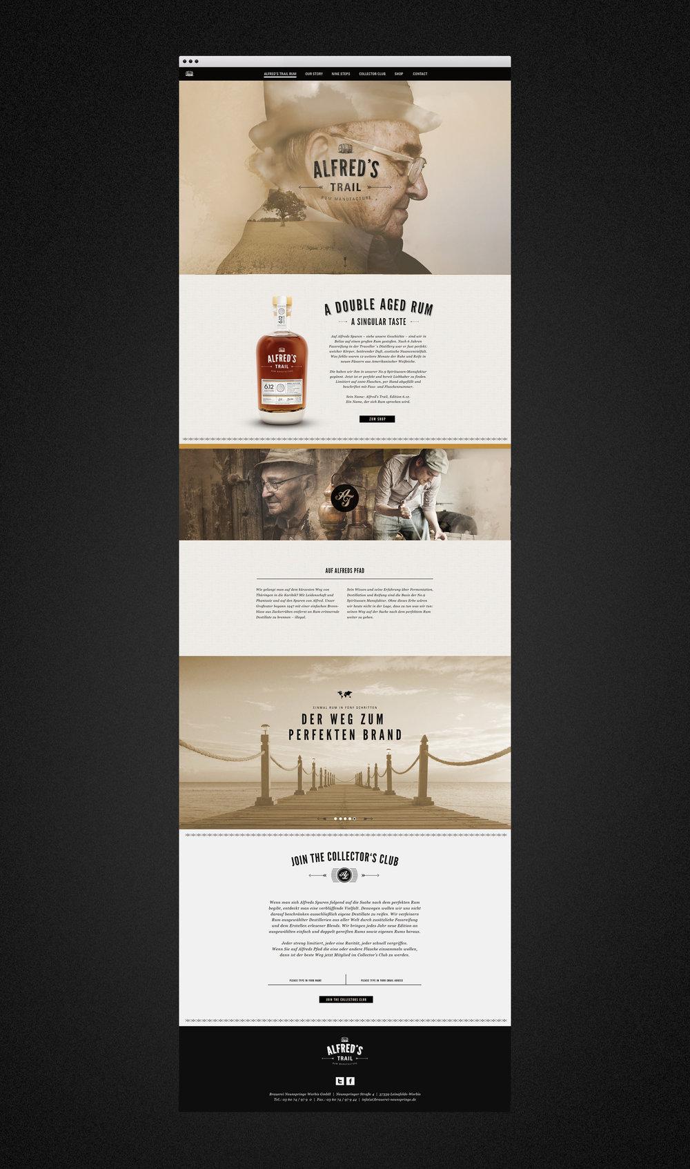 Web Design für die Webseite von Alfred´s Trail Rum Manufacture / Number Nine Spirituosenmanufaktur. Gestaltung und Umsetzung von dem Designstudiosons of ipanema aus Köln.