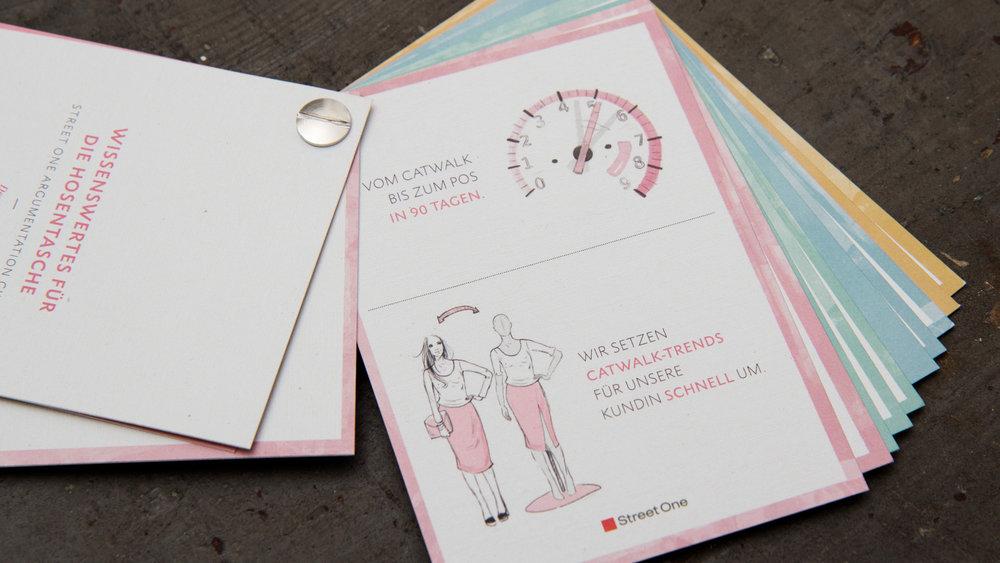 Gestaltung eines Pockets Guides für Street One von den Grafikern sons of ipanema in Köln. Illustration zum Thema Umsetzung der Catwalk-Trends für die Kundin.