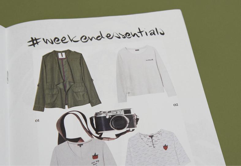 Weekend Essentials – eine Seite aus dem Magazin für Street One, Gestaltung und Design: sons of ipanema / Köln