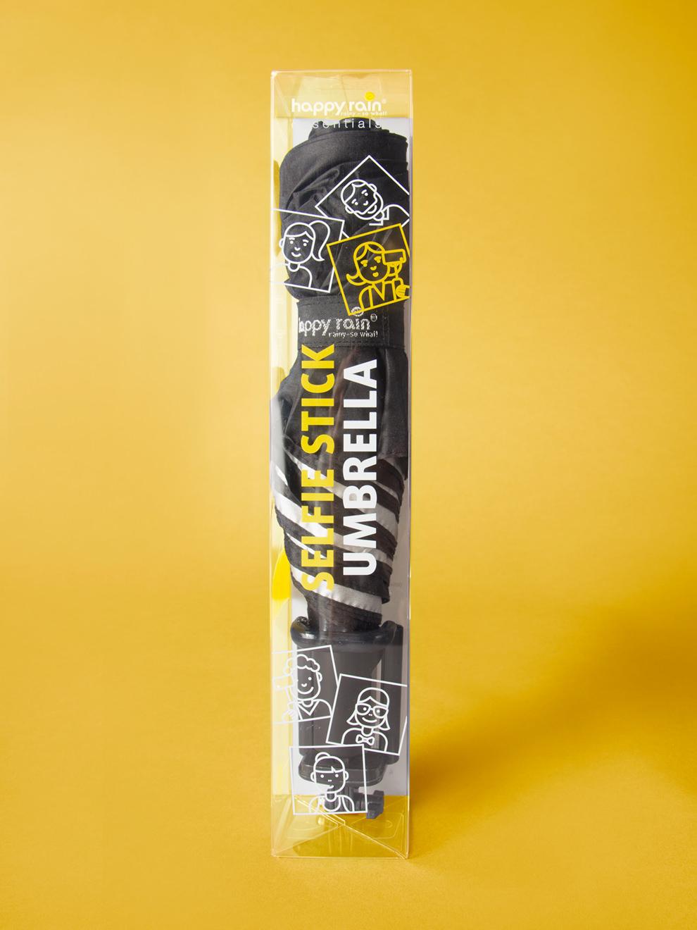 Selfie Stick Umbrealla Verpackung in Gelb; Design von der Designagentur sons of ipanema aus Köln
