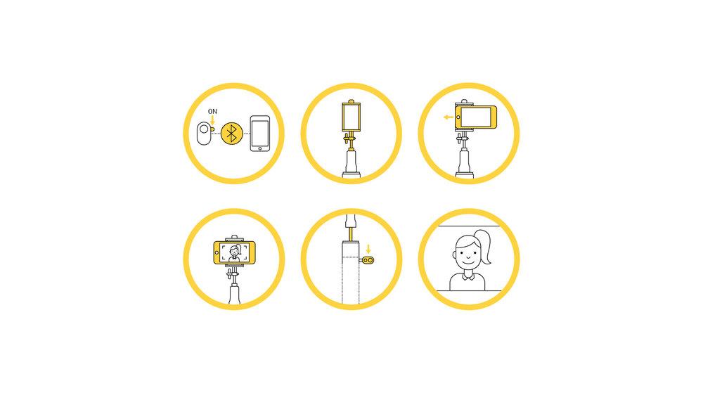 Gebrauchsanweisung / Piktogramme für den happy rain Selfie Stick Umbrella, gestaltet von den sons of ipanema, der Corporate Design Agentur aus Köln