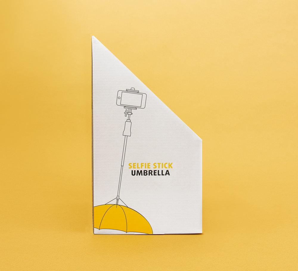 Seitenansicht des POS Displays happy rain Selfie Stick Umbrella / Art Direction: sons of ipanema, Cologne