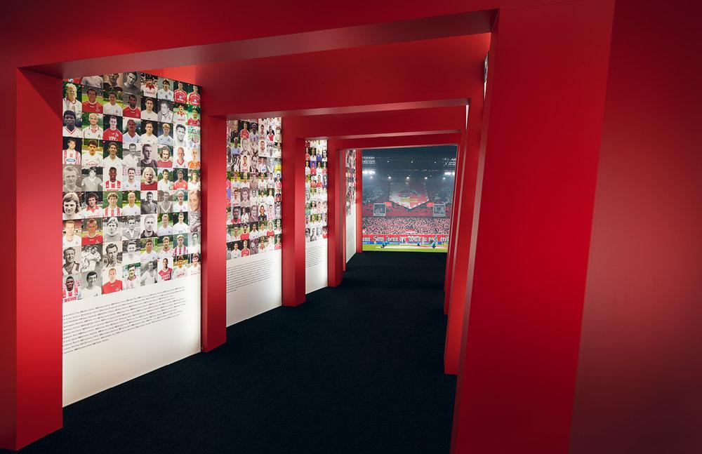 """Spielertunnel in der Ausstellung """"70 Jahre FC – Die Zeiten ändern sich, das Gefühl bleibt."""" des 1. FC Köln. Das Ausstellungsdesign kommt von den sons of ipanema einem Designstudio aus Köln."""
